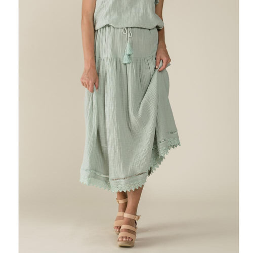 Mint maxi skirt with lace trim for women