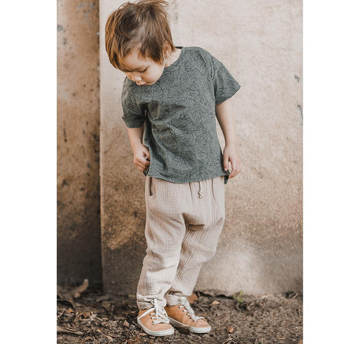 Khaki baggy pull on pants for boys