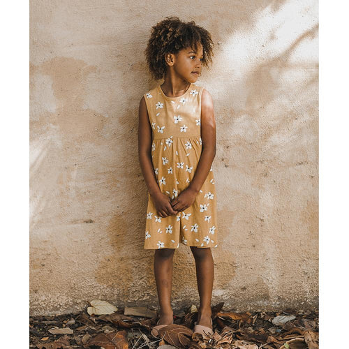 Sleeveless orange floral knit dress with a-line skirt for girls