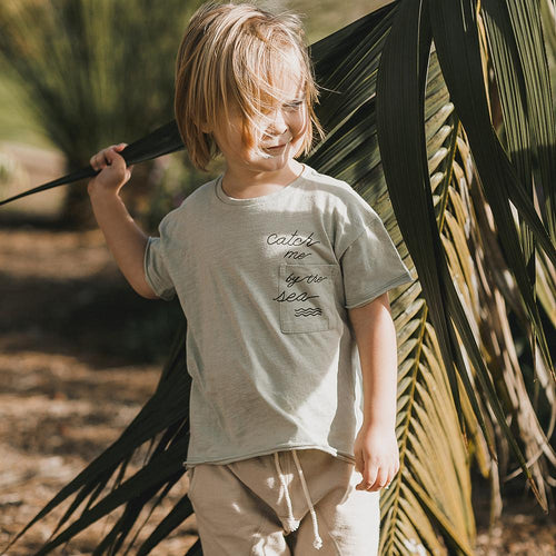 Sage green short sleeve tee with catch me graphic for boys