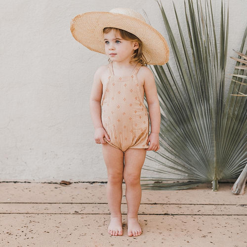 Light pink embroidered romper for baby girl