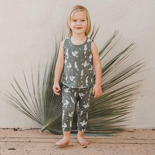 Green baggy pull on pants with bird print for baby girl