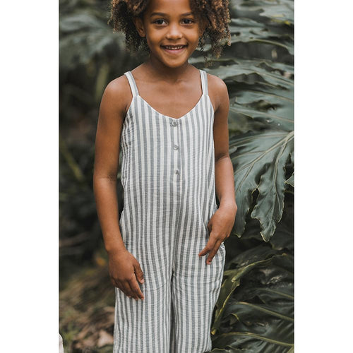 Blue and white stripe girls jumpsuit by Rylee and Cru