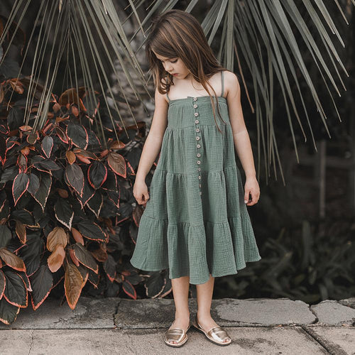 Tiered dark green sleeveless maxi dress for girls