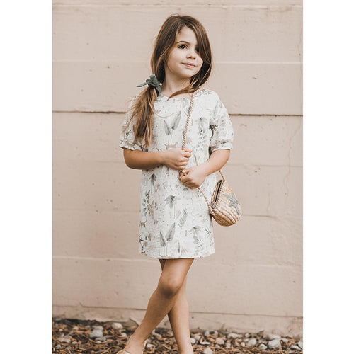 Cream short sleeve shirt dress with jungle print for girls