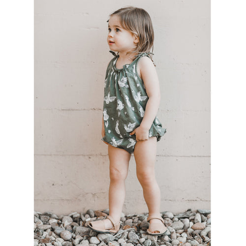 Green bubble romper with bird print for baby girl