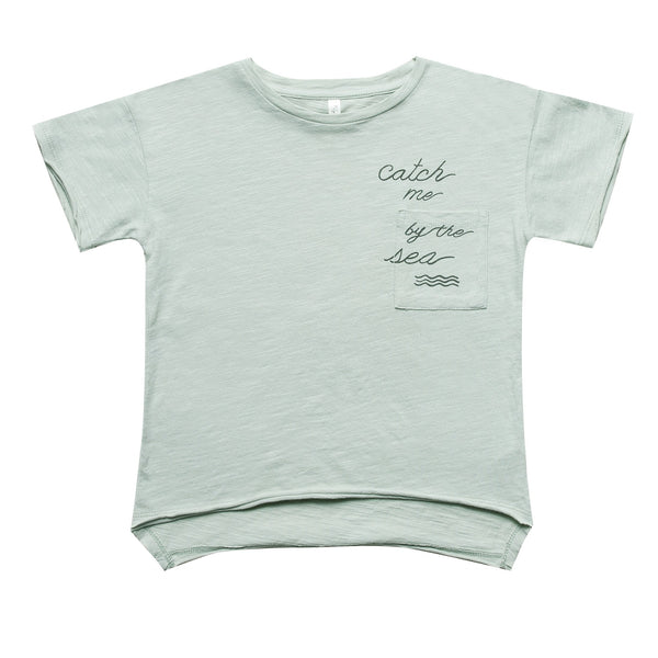 Boys sage green short sleeve tee with catch me graphic