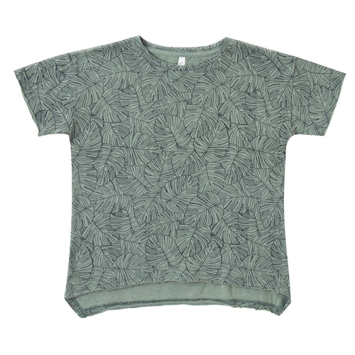 Boys green short sleeve t-shirt with leaf print