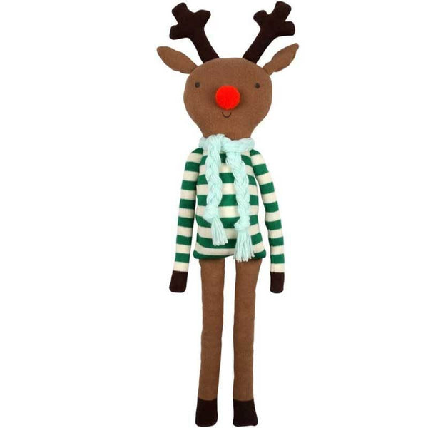Knitted organic reindeer doll