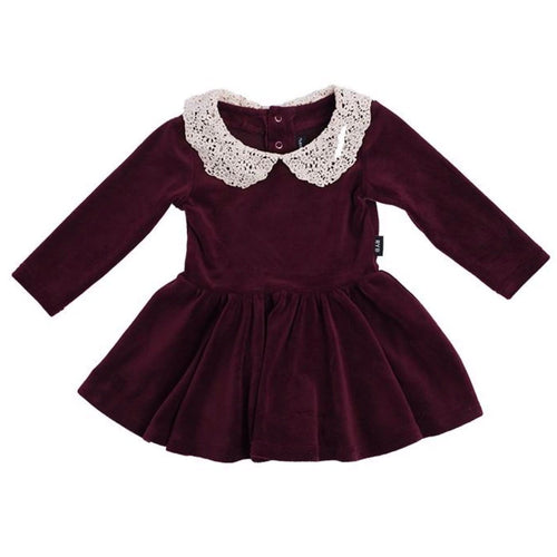 Rock your baby plum velvet with lace collar baby girl dress