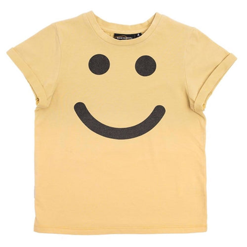 Rock your kid yellow short sleeve boy t-shirt smile emoji