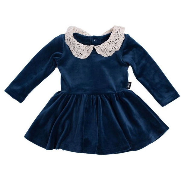 Rock your baby navy velvet with lace collar baby girl dress