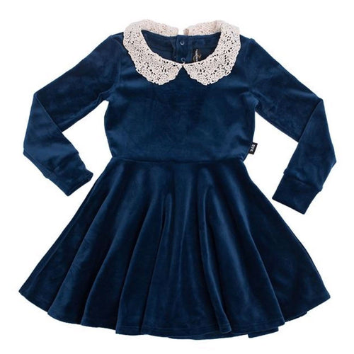 Rock your baby navy velvet with lace collar girl dress