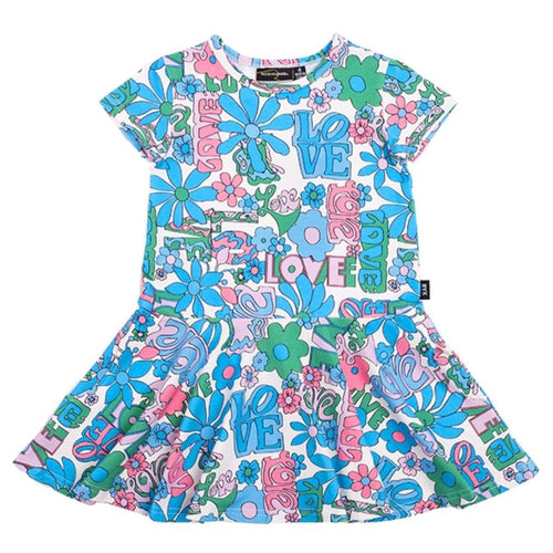 Rock your kid love short sleeve little girls and toddler dress blue and pink floral