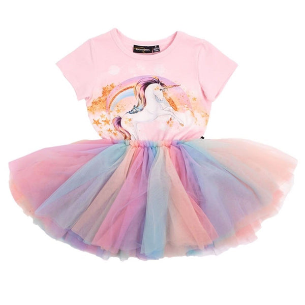 Rock your kid short sleeve unicorn rainbow tulle toddler and girls dress