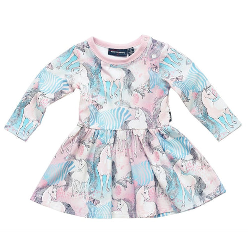 Rock your baby unicorn print jersey baby girl dress