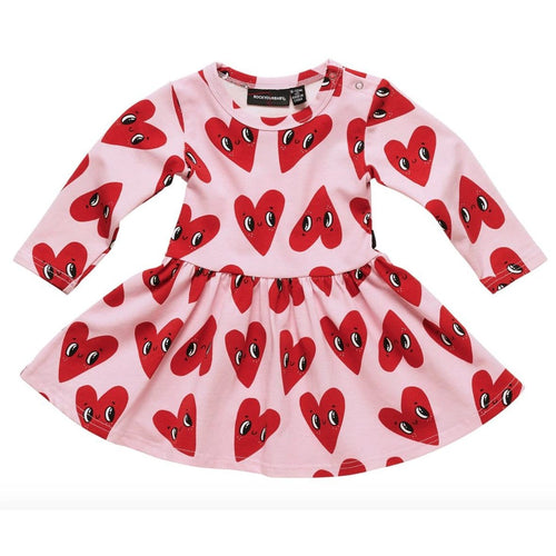 Rock your baby heart print jersey baby girl dress