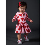 Rock your baby heart print jersey dress for baby girls