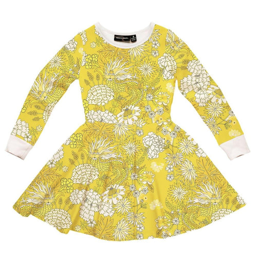 Rock your kid yellow dragon print girls twirl dress