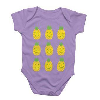 Purple baby onesie with nine smiling pineapples