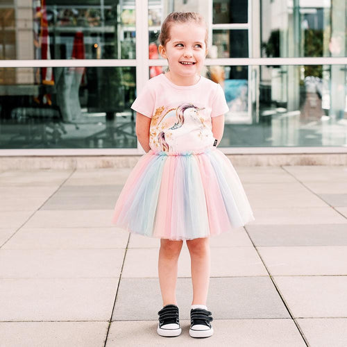 Rock your kid short sleeve unicorn rainbow tulle girls dress
