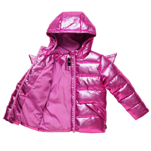Rock your kid metallic pink girls puffer coat