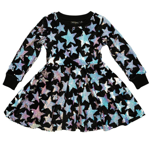 Rock your kid blue sequin star long sleeve girls dress