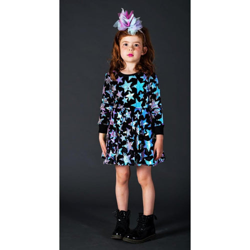 Rock your kid blue sequin star long sleeve dress for girls