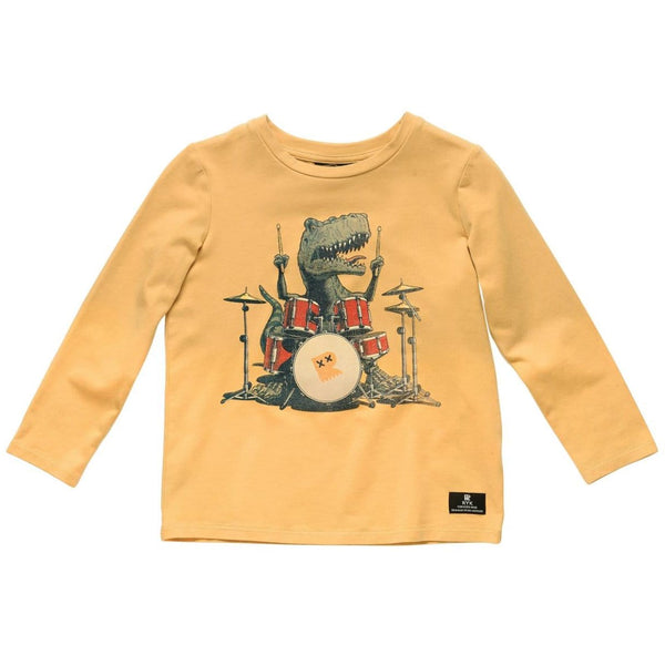 Rock your kid yellow long sleeve dinosaur boys graphic t shirt