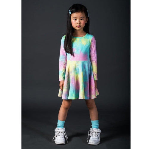 Rock your kid pastel tie dye long sleeve girls twirl dress
