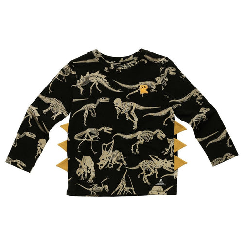 Rock your kid black long sleeve dinosaur print boys t shirt