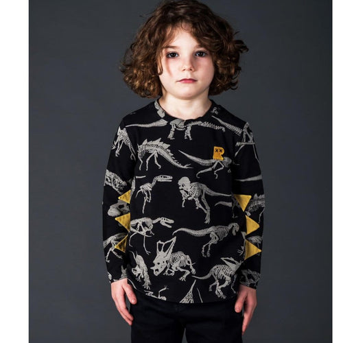 Rock your kid black long sleeve dinosaur print boys shirt