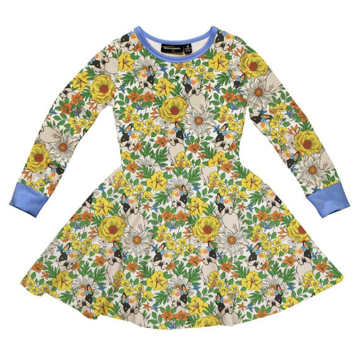 Rock your kid frenchie dog print girls twirl dress