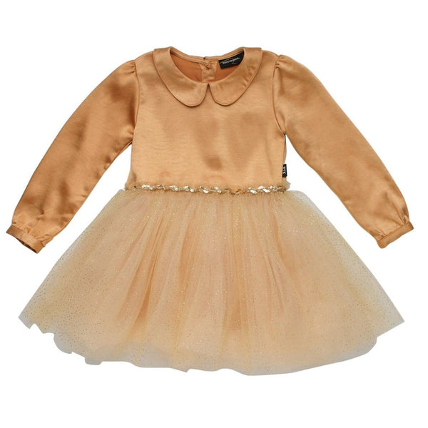 Rock your kid gold collared tulle dress for girls