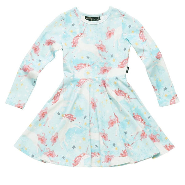 Rock your kid light blue unicorn print long sleeve girls dress