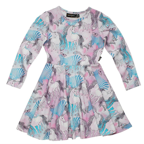 Rock your kid pink and blue unicorn print long sleeve girls dress