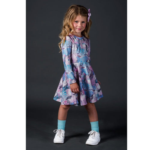 Rock your kid pink and blue unicorn print long sleeve dress for girls