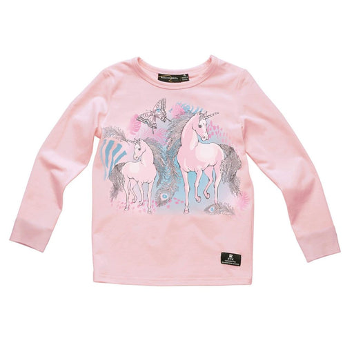 Rock your kid pink long sleeve unicorn girls graphic t shirt