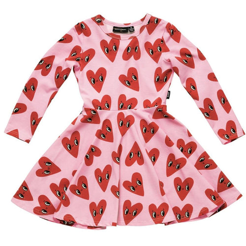 Rock your kid pink long sleeve heart print girls dress
