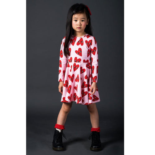 Rock your kid pink long sleeve heart print girls twirl dress