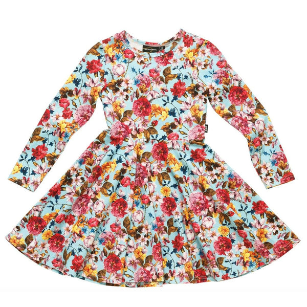 Rock your kid colorful long sleeve flower print girls dress