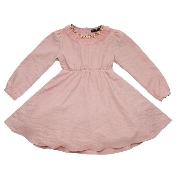 Rock your kid pink satin long sleeve girls dress with butterfly wings