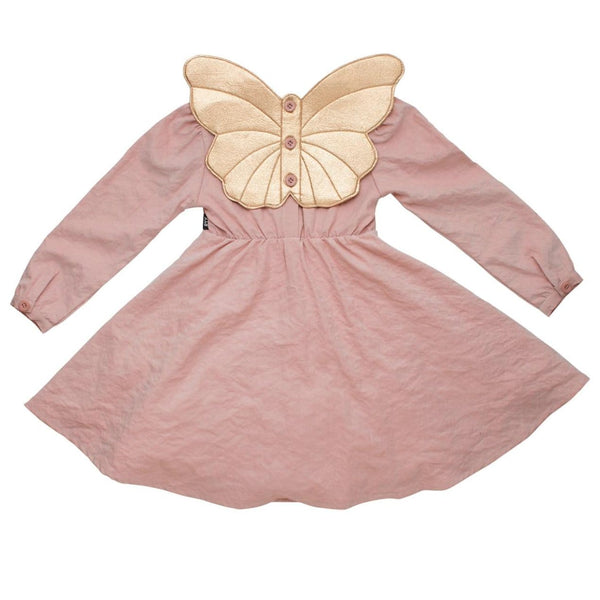 Rock your kid pink satin girls dress with butterfly wings