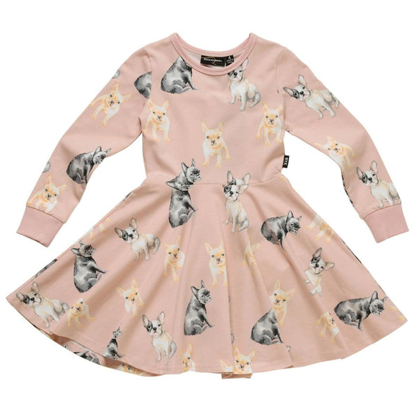 Rock your kid pink dog print long sleeve girls dress