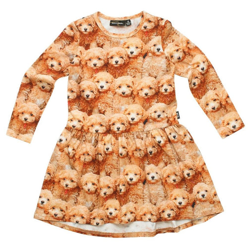 Rock your kid puppy print long sleeve girls dress