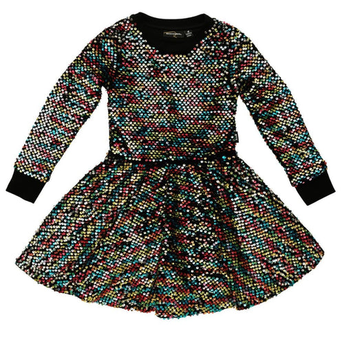 Rock your kid long sleeve sequin girls dress