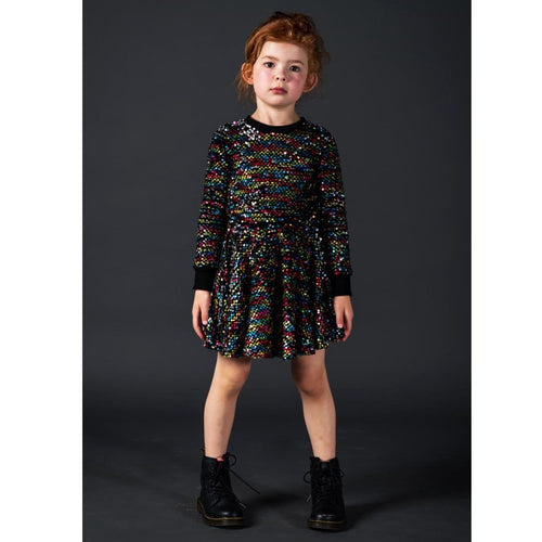 Rock your kid long sleeve rainbow sequin girls dress