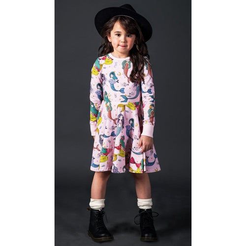Rock your kid pink long sleeve mermaid print girls twirl dress