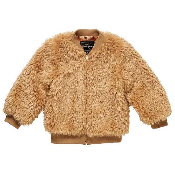 Rock your kid gold faux fur girls jacket
