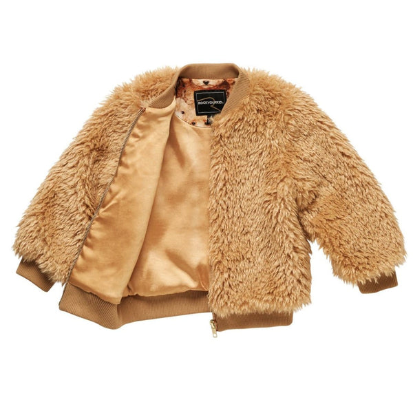 Rock your kid tan faux fur girls jacket